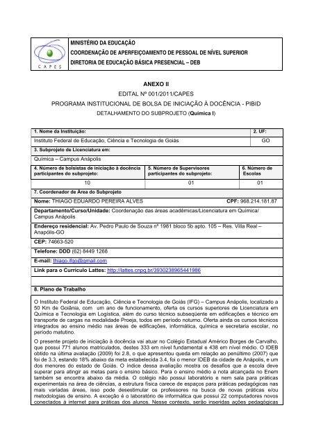 Subprojeto Química I Anápolis Pibidifg 2011
