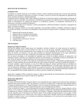 DESGASTE DE MATERIALES INTRODUCIÓN El desgaste es ...