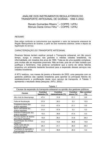 ANÁLISE DOS INSTRUMENTOS REGULATÓRIOS DO ... - CBTU