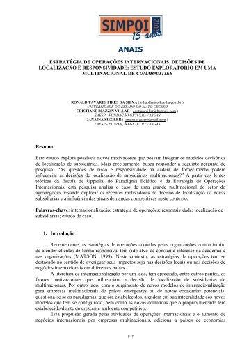 estratégia de operações internacionais, decisões de localização e ...