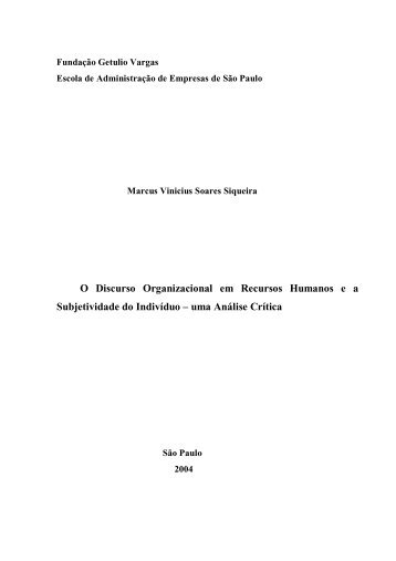 O Discurso Organizacional em Recursos Humanos ea - Sistema de ...