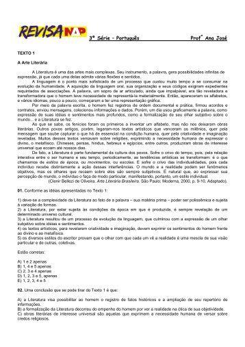 3ª Série – Português Profª Ana José