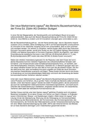 Der neue Markenname capsys® des Bereichs ... - Ed. Züblin AG