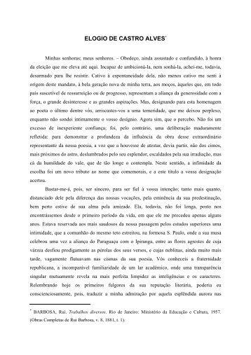 ELOGIO DE CASTRO ALVES - Fundação Casa de Rui Barbosa