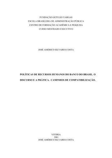 políticas de recursos humanos do banco do brasil - Sistema de ...
