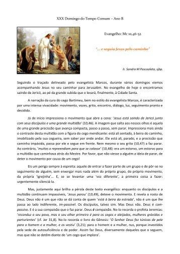 XXX Domingo do Tempo Comum – Ano B Evangelho: Mc 10,46-52 ...