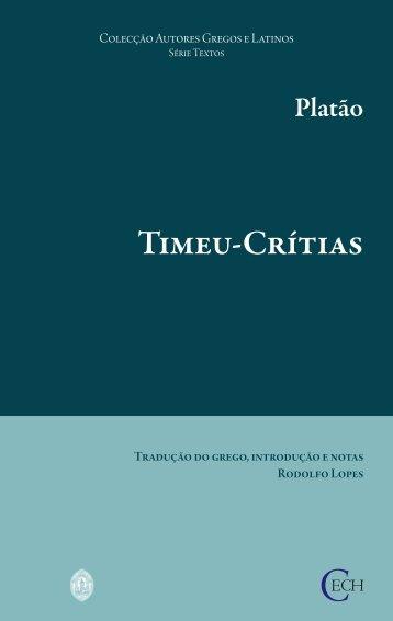 Platão. Timeu-Crítias - Universidade de Coimbra