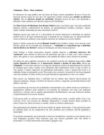 Cidadania – Ética – Meio Ambiente Os detentores de ... - Outorga