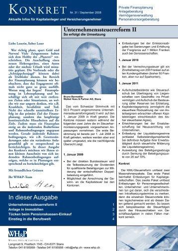 Unternehmenssteuerreform II - WH&P Weibel, Hess & Partner AG