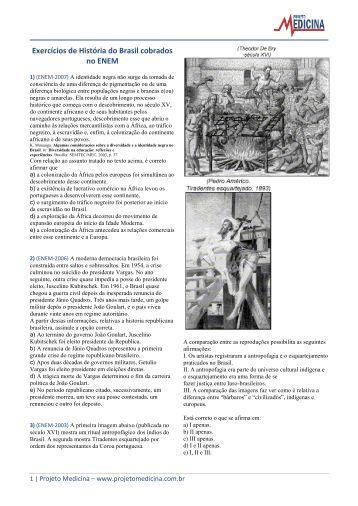 Exercícios de História do Brasil cobrados no ENEM - Projeto Medicina