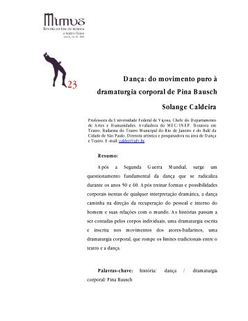 Dança: do movimento puro à dramaturgia corporal ... - Revista Mimus