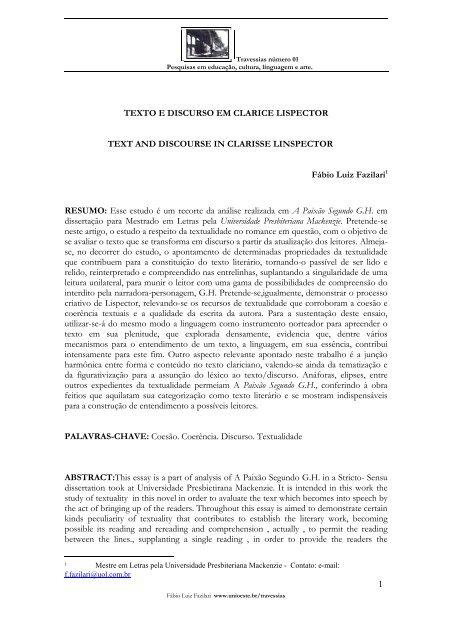 1 Texto E Discurso Em Clarice Lispector Text Unioeste