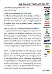 BVZ RACING TEAM RACE REPORT - Zupin