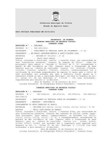 Atos Oficiais publicados em 08/03/2013 - Prefeitura de Vitória