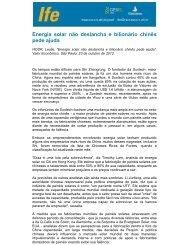 Energia solar não deslancha e bilionário chinês pede ajuda - UFRJ
