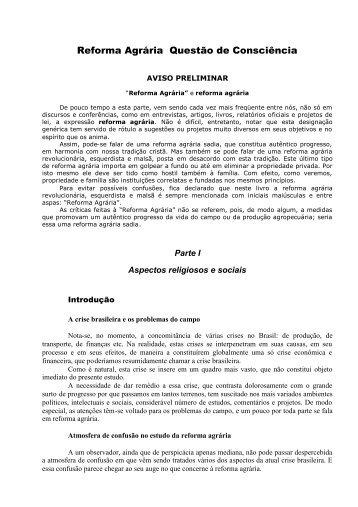 Reforma Agrária Questão de Consciência - IPCO - Instituto Plinio ...