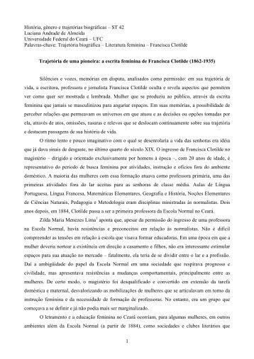 a escrita feminina de Francisca Clotilde - Fazendo Gênero 10