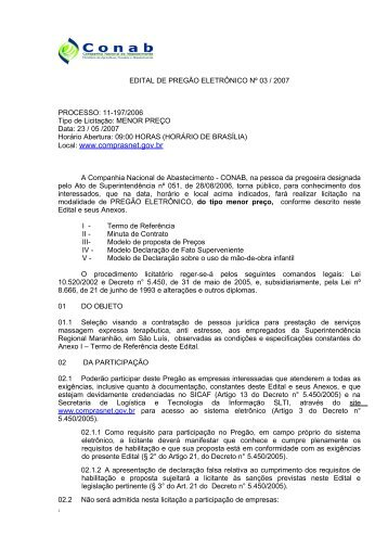 EDITAL DE PREGÃO ELETRÔNICO Nº /2005