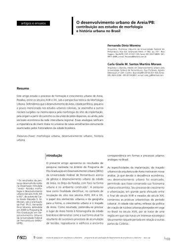 O desenvolvimento urbano de Areia/PB: - IAU - USP