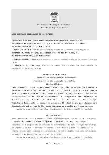 Atos Oficiais publicados em 31/01/2013 - Prefeitura de Vitória