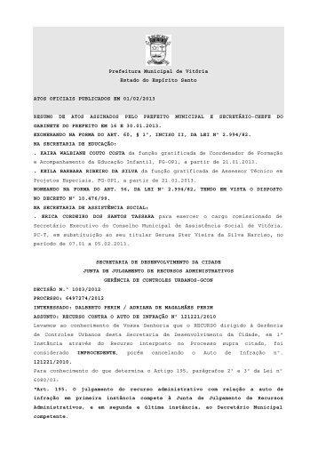 Atos Oficiais publicados em 01/02/2013 - Prefeitura de Vitória