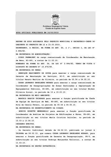 Atos Oficiais publicados em 16/03/2010 - Prefeitura de Vitória