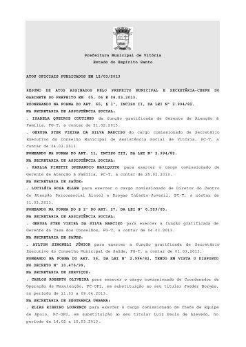 Atos Oficiais publicados em 12/03/2013 - Prefeitura de Vitória