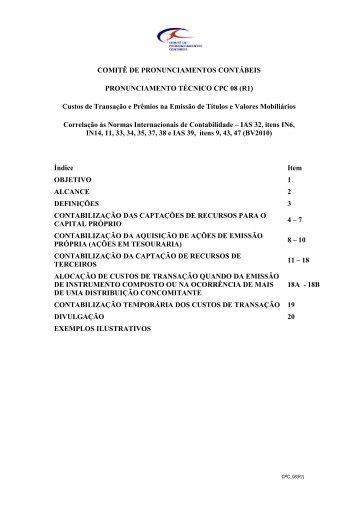 CPC 08 - Comitê de Pronunciamentos Contábeis