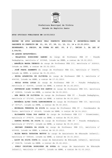 Atos Oficiais publicados em 19/03/2013 - Prefeitura de Vitória