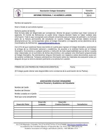 Informe personal y académico del Jardín - Colegio Granadino