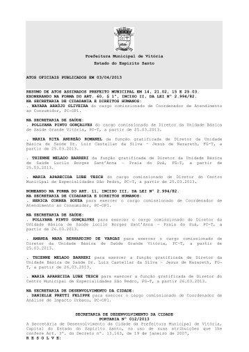 Atos Oficiais publicados em 03/04/2013 - Prefeitura de Vitória