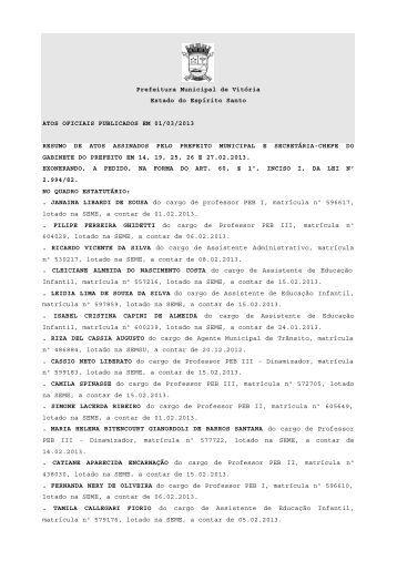Atos Oficiais publicados em 01/03/2013 - Prefeitura de Vitória