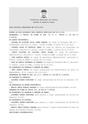 Atos Oficiais - Prefeitura de Vitória