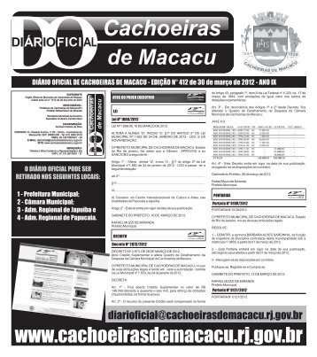 D.O 412 30-03-2012 - Prefeitura Municipal de Cachoeiras de Macacu