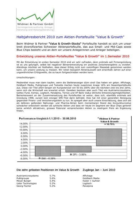Halbjahresbericht 2010 - Widmer und Partner GmbH
