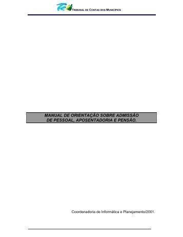 manual de orientação sobre admissão de pessoal ... - TCM-CE