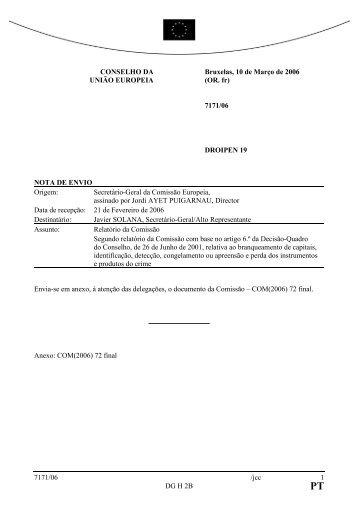 7171/06 /jcc 1 DG H 2B CONSELHO DA UNIÃO ... - Europa
