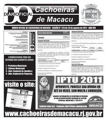 D.O 373 19-08-2011 - Prefeitura Municipal de Cachoeiras de Macacu