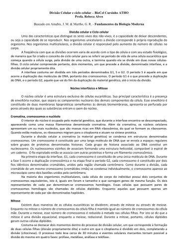 Divisão Celular e ciclo celular – BioCel Cursinho ATHO ... - Unesp