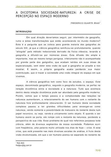 a dicotomia sociedade-natureza - Observatorio Geográfico de ...