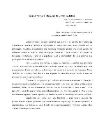 Paulo Freire e a educação de jovens e adultos. - Cereja