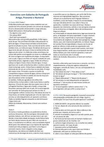 Artigo, Pronome e Numeral - Exercícios - Projeto Medicina