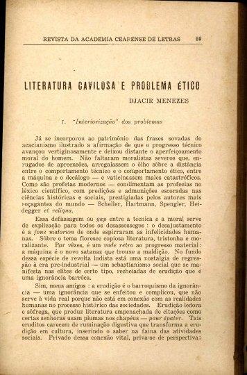 Literatura Cavilosa e Problema Ético - Djacir Menezes