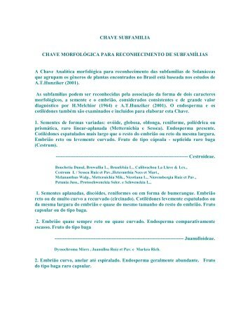 CHAVE SUBFAMILIA CHAVE MORFOLÓGICA PARA ...