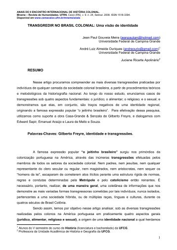TRANSGREDIR NO BRASIL COLONIAL - CERES Caicó - UFRN