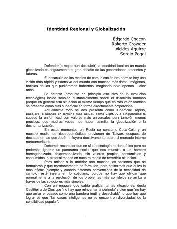 Identidad Regional y Globalización Edgardo Chacon Roberto ...
