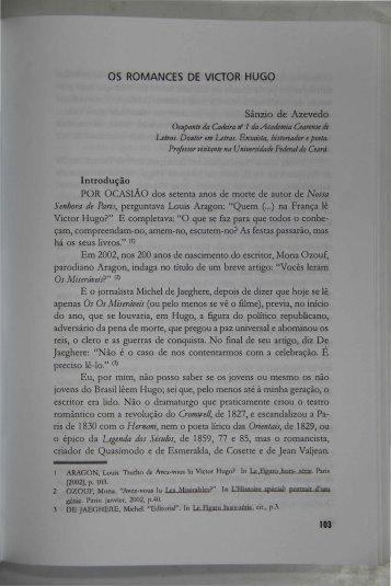 Os Romances de Victor Hugo SÂNZIO DE AZEVEDO - Portal da ...