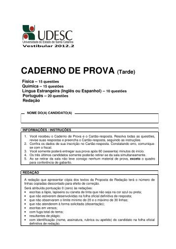 CADERNO DE PROVA (Tarde) - Udesc