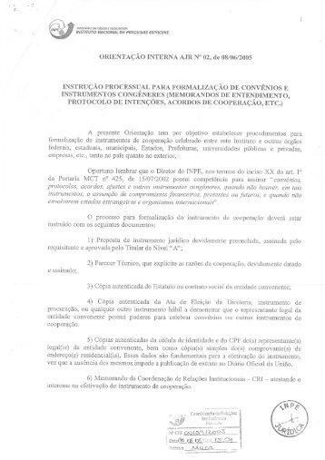 Formalização de Convênios - LCP - Inpe