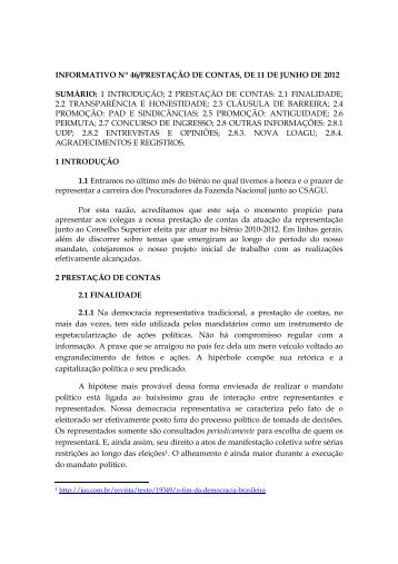 INFORMATIVO Nº 46/PRESTAÇÃO DE CONTAS, DE 11 ... - csagupfn